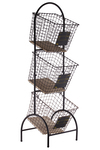 UTC52164 Metal Cart with 3 Tier Baskets and Wood Surface Coated Finish Black