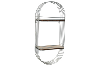 UTC52166 Metal Oval Wall Shelf with 2 Wood Surface Tiers and Metal Back Hangers Painted Finish Silver