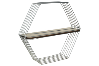 UTC52168 Metal Hexagon Wall Shelf with Single Wood Surface Tier and Metal Back Hangers Painted Finish Silver