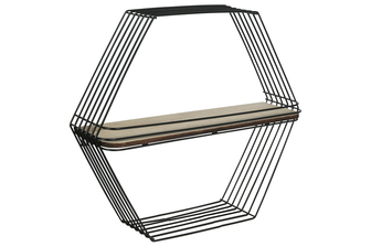 UTC52169 Metal Hexagon Wall Shelf with Single Wood Surface Tier and Metal Back Hangers Painted Finish Black