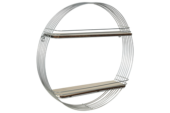 UTC52172 Metal Round Wall Shelf with 2 Wood Surface Tier and Metal Back Hangers LG Painted Finish Silver