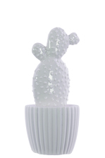UTC52602 Ceramic Prickly Pear Cactus Figurine on Round, Ribbed Design Body, Tapered Bottom and White Pot Gloss Finish White