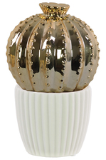 UTC52608 Ceramic Barrel Cactus Figurine on White Pot Polished Chrome Finish Gold