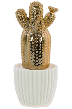 UTC52610 Ceramic Barrel Cactus Figurine with Flower on White Pot Polished Chrome Finish Gold