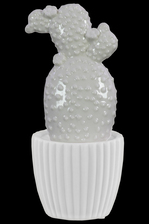 UTC52615 Ceramic Prickly Pear Cactus Figurine on White Pot Gloss Finish White