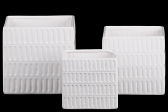 UTC53204 Ceramic Square Pot with 4 Tier Embossed Oblong Lattice Design Body and Tapered Bottom Set of Three Gloss Finish White