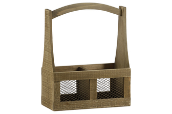 UTC53309 Wood Rectangular Planter Basket with Handle, 2 Slots and Mesh Sides Natural Finish Brown