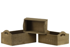 UTC53310 Wood Rectangular Tray with Side Cutout Handles Set of Three Natural Finish Brown