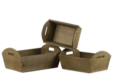 UTC53311 Wood Rectangular Tray with Side Cutout Handles and Tapered Bottom Set of Three Natural Finish Brown