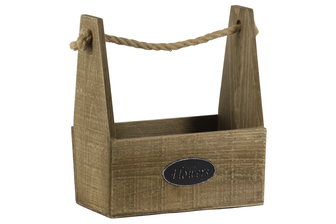 "UTC53312 Wood Rectangular Planter Basket with Rope Handle and ""Flowers"" Label Natural Finish Brown"