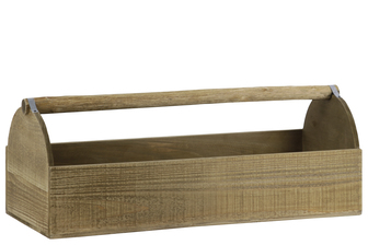 UTC53314 Wood Rectangular Planter Tray with Handle Natural Finish Brown