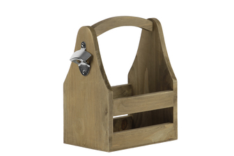UTC53315 Wood Rectangular Tray Basket with Bottle Opener Natural Finish Brown