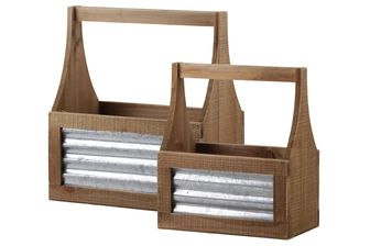 UTC53318 Wood Rectangle Caddy with Handle and Corrugated Metal Sides Set of Two Natural Finish Brown