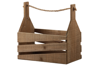 UTC53319 Wood Rectangle Caddy with Rope Handle and Side Slats Natural Finish Brown
