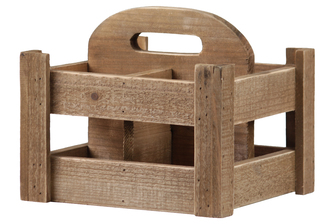 UTC53320 Wood Square Caddy with Top Center Handle and 4 slots Natural Finish Brown