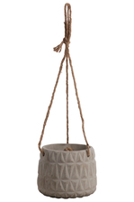 UTC53400 Cement Round Pot with Rope Handle and Embossed Lattice Triangle Design Body Concrete Finish Gray