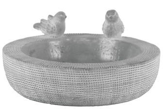 UTC53605 Cement Round Bowl with Bird Figurine and Brushed Design Body Washed Concrete Finish Gray
