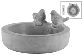 UTC53606 Cement Round Bowl with Bird Figurine and Engraved Floral Design Surface Washed Concrete Finish Gray
