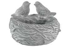 UTC53607 Cement Round Bowl with Bird Figurine and Nest Design Body Washed Concrete Finish Gray