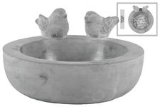 UTC53608 Cement Round Bird Bath with Figurine on Top and Engraved Design Surface Washed Concrete Finish Gray
