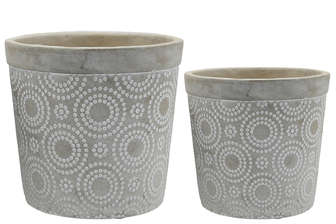 UTC53613 Cement Round Pot with White Circle Dots Pattern Design Body Set of Two Natural Finish Gray