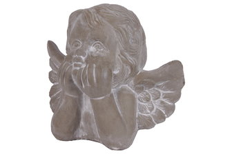 UTC53704 Cement Cherub Head with Head Resting on Hands Concrete Finish Gray