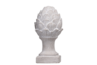 UTC53710 Cement Artichoke Statue on Square Base Stand LG Washed Finish Gray