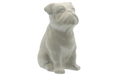 UTC53714 Cement Sitting Bulldog Statue Washed Finish Gray