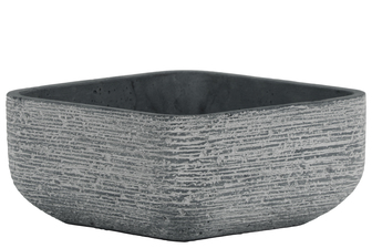 UTC53821 Cement Low Square Pot with and Tapered Bottom Broomed Finish Finish Dark Gray