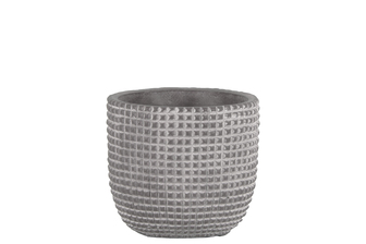 UTC53822 Cement Round Pot with Engraved Square Lattice Tapered Bottom SM Natural Finish Light Gray