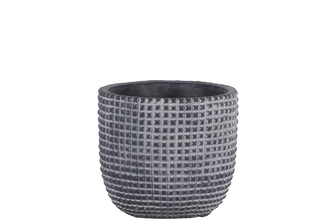 UTC53823 Cement Round Pot with Engraved Square Lattice Tapered Bottom SM Natural Finish Dark Gray
