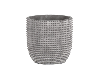 UTC53824 Cement Round Pot with Engraved Square Lattice Tapered Bottom MD Natural Finish Light Gray