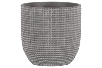 UTC53826 Cement Round Pot with Engraved Square Lattice Tapered Bottom LG Natural Finish Light Gray