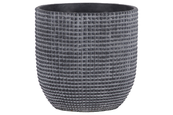 UTC53827 Cement Round Pot with Engraved Square Lattice Tapered Bottom LG Natural Finish Dark Gray
