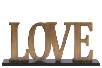 "UTC53901 Wood Alphabet Decor ""Love"" on Black Rectangular Base Painted Finish Gold"