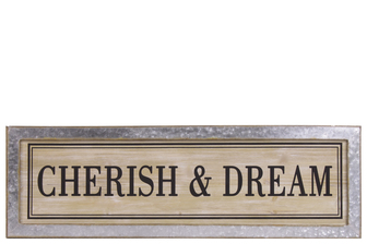 "UTC53905 Wood Rectangular Alphabet Wall Decor ""CHERISH & DREAM"" with Metal Rust Effect Edge Frame Natural Finish Brown"