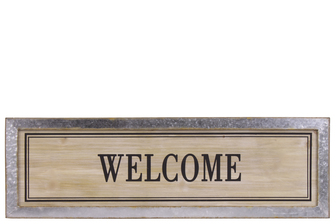 "UTC53906 Wood Rectangular Alphabet Wall Decor ""WELCOME"" with Metal Rust Effect Edge Frame Natural Finish Brown"