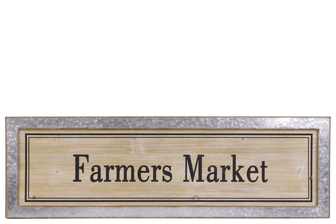 "UTC53907 Wood Rectangular Alphabet Wall Decor ""FARMERS MARKET"" with Metal Rust Effect Edge Frame Natural Finish Brown"
