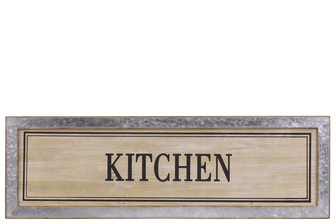 "UTC53908 Wood Rectangular Alphabet Wall Decor ""KITCHEN"" with Metal Rust Effect Edge Frame Natural Finish Brown"