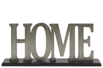 "UTC53910 Wood Alphabet Decor ""Home"" on Black Rectangular Base Painted Finish Silver"