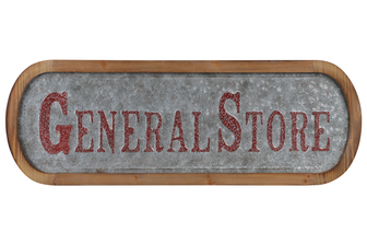 "UTC53915 Metal Rectangle Wall Art ""General Store"" Painted Embossed Design with Natural Wood Frame and Sawtooth Hanger Galvanized Finish Gray"