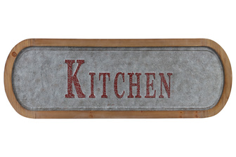 "UTC53916 Metal Rectangle Wall Art ""Kitchen"" Painted Embossed Design with Natural Wood Frame and Sawtooth Hanger Galvanized Finish Gray"