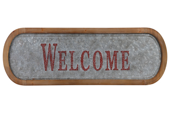 "UTC53917 Metal Rectangle Wall Art ""Welcome"" Painted Embossed Design with Natural Wood Frame and Sawtooth Hanger Galvanized Finish Gray"