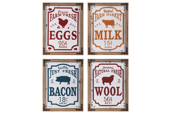 "UTC53918-AST Metal Rectangle Wall Art ""Farm Theme"" with Animal Shape Embossed Design and Natural Wood Frame and Triangle Corner Hangers Assortment of Four Painted Finish Polychromatic"