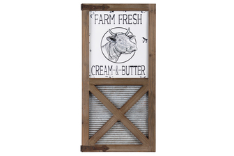 "UTC53919 Metal Rectangle Wall Art ""Farm Fresh Cream & Butter"" Embossed Metal with Corrugated Galvanize Wash Board Design and Natural Wood Frame and Triangle Corner Hangers Painted Finish"