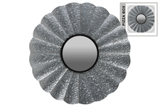 UTC53921 Metal Round Wall Mirror with Sunburst Design Frame and Keyhole Hanger Galvanized Finish Gray