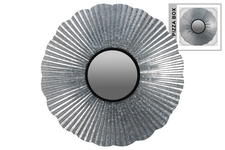 UTC53922 Metal Round Wall Mirror with Box and Corrugated Starburst Design and Keyhole Hanger Galvanized Finish Gray