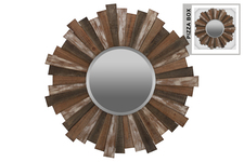 UTC53923 Wood Round Wall Mirror with Sunburst Design and Triangle Hangers Natural Washed Wood Finish Polychromatic (Brown, White and Gray)