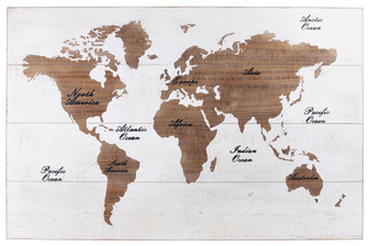 "UTC53924 Wood Rectangle Panel Giclee Print of ""World Map"" Natural Finish Brown"