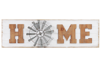 "UTC53925 Wood Rectangle Wall Art with Alphabet ""HOME"" and O in Windmill Design Natural Finish Brown"